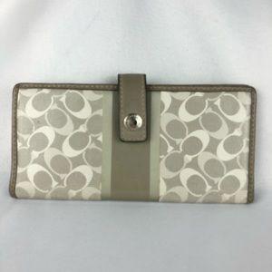 Grey & White Coach Logo Wallet